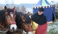 Pferdegespann auf dem Weihnachtsmarkt vorm Klausenhof